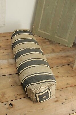 Antique Ticking French Bolster body pillow  blue indigo feather down  insert