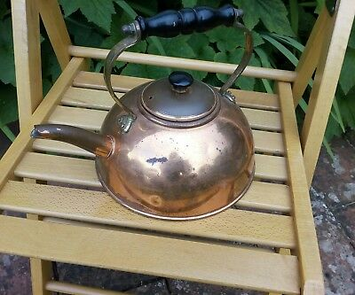 Vintage Copper kettle flat base, needs a good clean, shabby chic barge steam pun