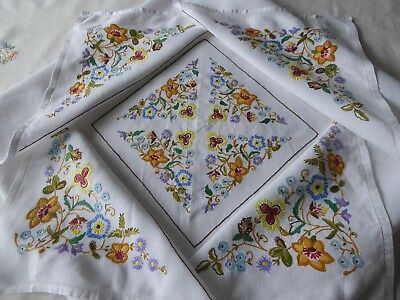 Vintage Hand Embroidered Tablecloth - Exquisite Raised Embroidery Jacobean Style