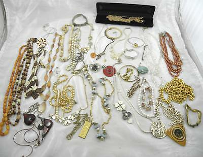 Job lot of costume jewellery - vintage, beads, necklaces, bracelets etc