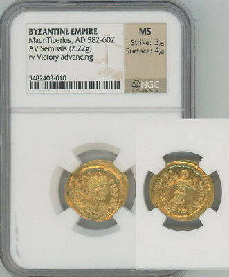 ANCIENT BYZANTINE EMPIRE gold Semissis Maurice Tiberius  NGC MINT STATE