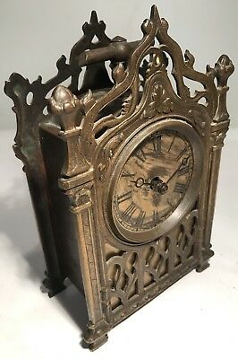 """Rare Antique Mechanical Working Brass Lantern Carriage Clock Working 8.5"""" Chime"""