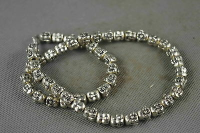 Collectable Handwork Old Miao Silver Carve Delicate Buddha Head Royal Necklace