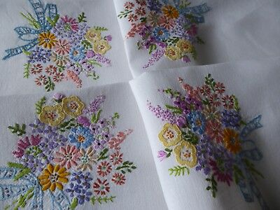 Vintage Hand Embroidered Tablecloth=Beautiful Floral Bouquets - Lovely