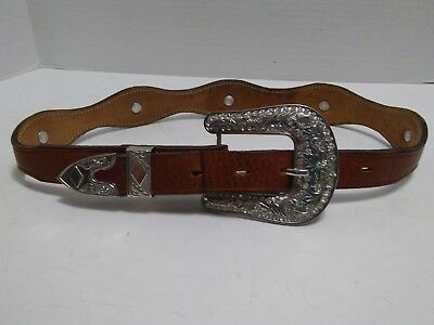 Pre-owned Unmarked Girls Western Belt with Buckle Size 26
