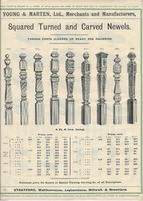 Vintage Architectural Advert Young  Marten Stratford  Square Carved Newel Posts.