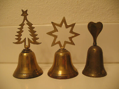 Vintage Hand Dinner Bell Brass Christmas Tree Star and Heart