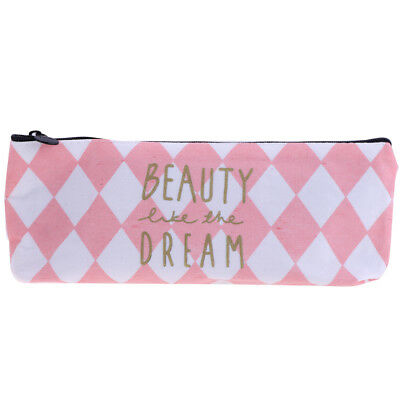 Pencil Cases Cosmetic Makeup Pouch Pen Bag Large Capacity - Pink White Plaid