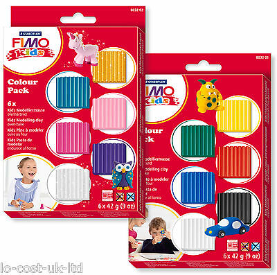 FIMO KIDS COLOUR STARTER PACK KITS 6x42g POLYMER MODELLING OVEN BAKE CLAY SET