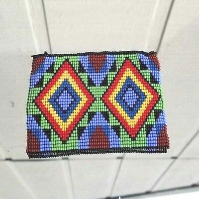 Huichol Mexican Hand Made Jewelry Beaded Folk Artstag Coin Purse Bag