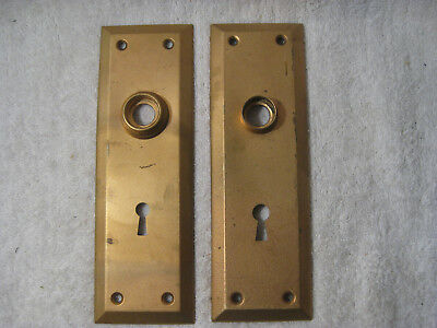 "Vintage Used Pair of Brass Door Knob Back Plates 7"" x 2-1/4"" Bevel edge"