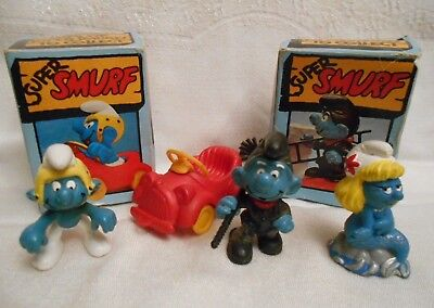 3 Vintage Super Smurf By Peyo Schleich Chimney Sweep, Mermaid & Red Car Driver