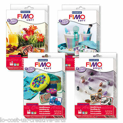 FIMO SOFT & EFFECT 6x57g MODELLING MOULDING OVEN BAKE CLAY COLOUR PACK SETS