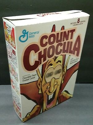Count Chocula  empty Cereal Box Vintage 1988 Prism Moving Eyes good old days