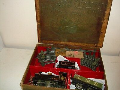 "Hornby Series""O""- No.0 (2710) LMS c/w Goods Set(inc.track) excellent/boxed c1924"