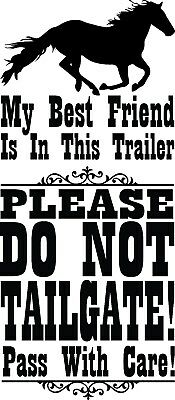 Large Horse Trailer Decal Window Sticker Equine Caution Do Not Tailgate Show