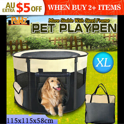 PaWz Pet Soft Playpen Dog Cat Puppy Play Large Round Crate Cage Tent Portable