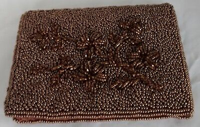 VINTAGE  NEW  Women's Bronze Bi-Fold Beaded Wallet with Satin Lining