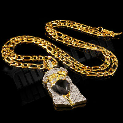 b7a0304cb327c 18K GOLD PLATED Bling Out Iced CZ JESUS BANDANA PIECE Pendant Figaro ...