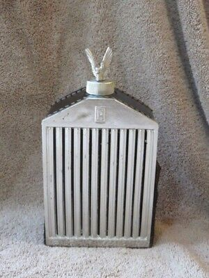 Vintage Rolls Royce Leather & Glass Scotch Whiskey or Gin Decanter / Flask