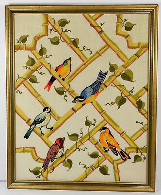 Vintage Handmade Crewel Birds Lattice Leaves Framed Finished