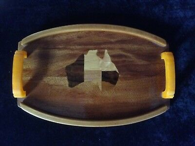 Vintage Art Deco Australia Wood & Bakelite Tray. Retro 1920's to 1950's,