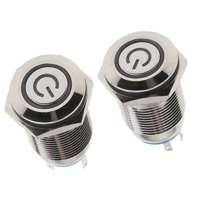 2Pcs 16mm 12V LED Power Push Button Metal ON/OFF Switch Latching Waterproof