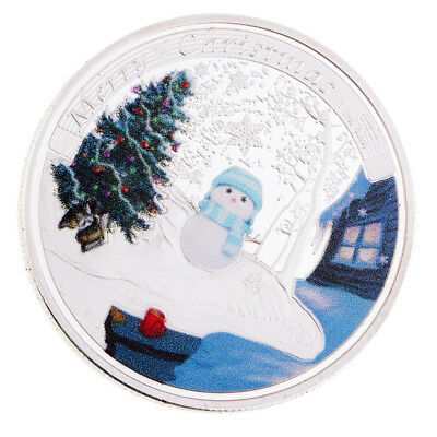 Silver Plated Christmas Tree Snowflake Commemorative Coin Toy with Round Box