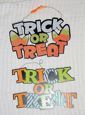 trick or treat glittered sign halloween candy corn door dcor diy wreath craft