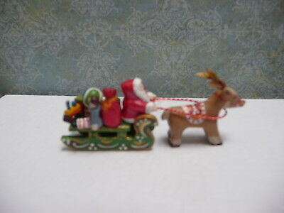 Whimsical 1:12 Miniature Santa Sled and Reindeer by Maggie
