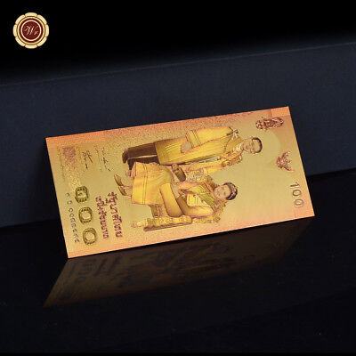 WR 2004 Color Gold Thailand 100 Baht Banknote Queen's 72th Birthday Anniversary