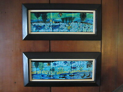 Original Harris Strong Pair of Framed Hand Painted Vintage Art Tile Panels