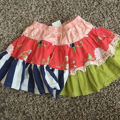 PERSNICKETY Girl Size 4 Floral Pull On Skirt Green Blue Polka Dot Cotton