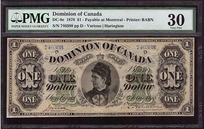 1878 Dominion of Canada $1 dollar bank note 746388D DC-8e PMG VF30