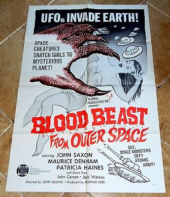 Original Folded One-Sheet Movie Poster: 1965 Blood Beast From Outer Space Sci-Fi