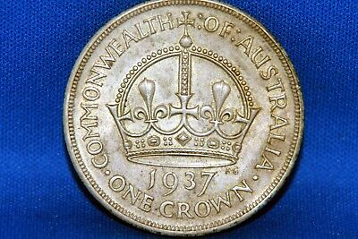 1937 Australia One Crown Silver Coin