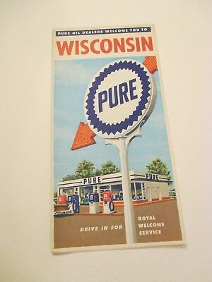 Vintage PURE Wisconsin State Travel Oil Gas Station Road Map~1950 Census
