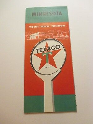 Vintage 1958 TEXACO Minnesota Oil Gas Service Station Road Map