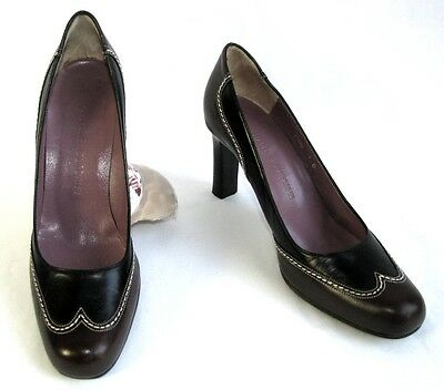 Charles Jourdan Court Shoes Heels 8 cm all Leather Black & Brown 37 Mint