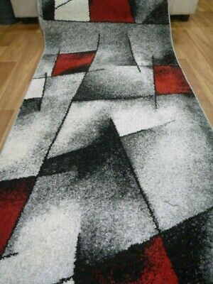 Plush Pile Hall Runner 80cm wide by the Meter Razor Grey Black Red
