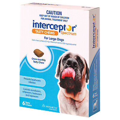 Interceptor Spectrum 6-pc Worming Treatment Chews For Large Dogs 22-45kg - Blue