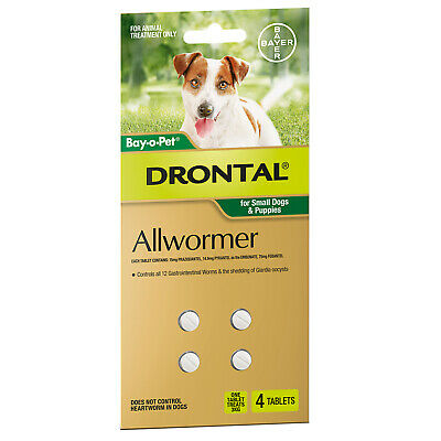 DRONTAL All Worming Treatments for Small Dogs & Puppies 3kg - 4 Tabs