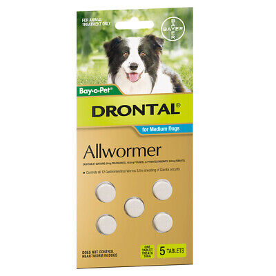 DRONTAL All Worming Treatments for Medium Dogs 10kg - 5 Tabs