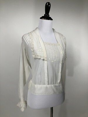 25190fb36aaad Antique Edwardian Victorian Embroidered Crochet Lace Cotton Lawn Blouse  Bodice S