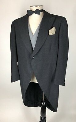 Sharp! Custom Bespoke Dunhill Tailors 3pc Tuxedo Tail Suit Striped Pants 46