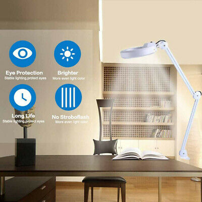 Desk Table Top Light 5X Magnifying Glass Skin Beauty Nail Salon Magnifier Lamp