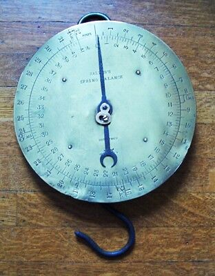 Antique Salter Rare Dairy Milk Hanging Round Brass Face Scale Great Condition!