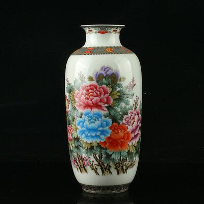 Chinese Porcelain Hand-Painted Flower Vase Mark As The Qianlong Period  R1003+a