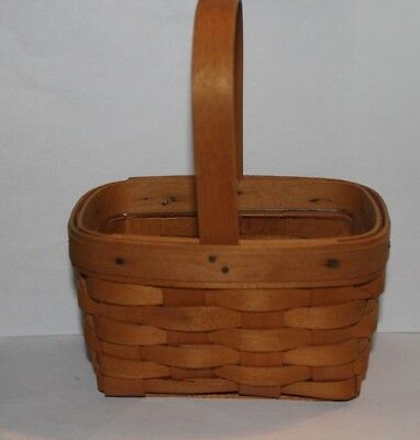 1997 Longaberger Small Handle Basket with Plastic Protector
