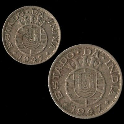 1947 India Portuguese 1/4 And 1/2 Rupia Copper Nickel Coins 2 Year Type